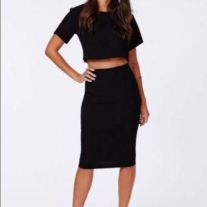 NWT Missguided Black midi skirt